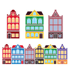Amsterdam houses dutch buildings the netherlands vector