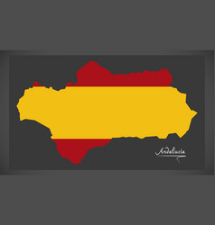 Andalucia map with spanish national flag vector