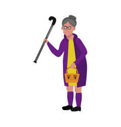 angry old woman with cane vector image