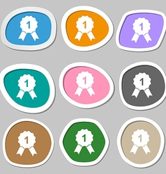 Award medal symbols Multicolored paper stickers vector