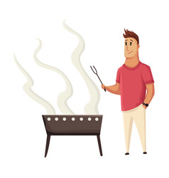 bbq party man with a barbecue grill picnic with vector image