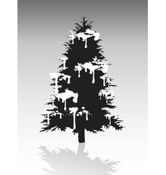 Black christmas tree silhouette covered with snow vector