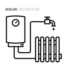 Boiler line icon symbol heating vector
