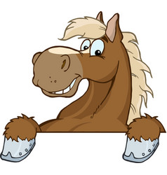 brown horse over a sign vector image