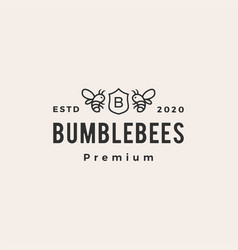 bumble bee coat arms hipster vintage logo icon vector image