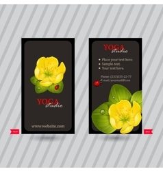 Business card with naturalistic floral composition vector