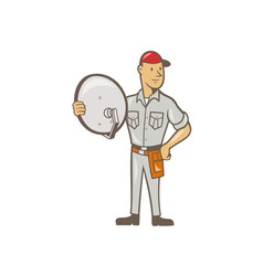 Cable TV Installer Guy Standing vector image