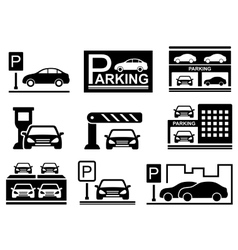 car on parking icons vector image