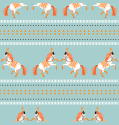 Circus horse tribal seamless blue pattern vector