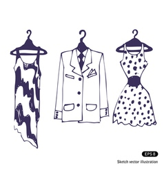 Clothes on hangers vector image