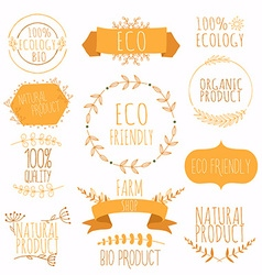 Collection of orange labels and badges for organic vector image