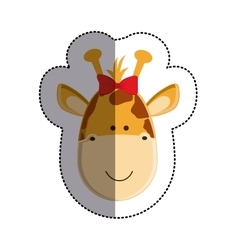 Color sticker with female giraffe head and middle vector