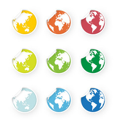 colored world globe icons stickers set vector image