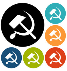 communist star with hammer and sickle on white vector image