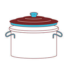 cooking pot with lid color sections silhouette vector image
