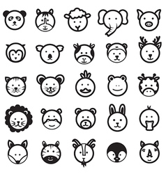 Cute Animal Faces Set vector