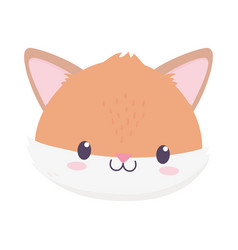 cute fox face animal cartoon isolated icon vector image
