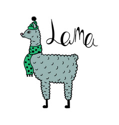 Cute hand-drawn of a lama vector