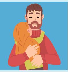 Daughter hugs daddy cartoon vector