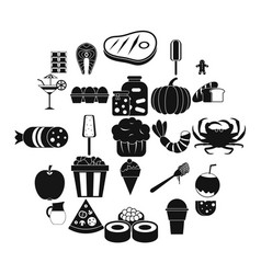 delicious food icons set simple style vector image