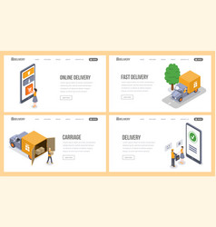 delivery service isometric landing page vector image