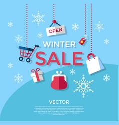 Digital blue winter sale vector