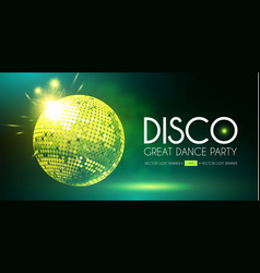 disco party flyer template with mirror ball fog vector image