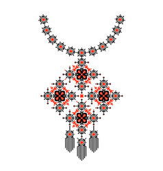 Ethnic necklace embroidery pixel tribal design vector