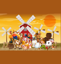 Farm in nature scene with windmill and animal vector
