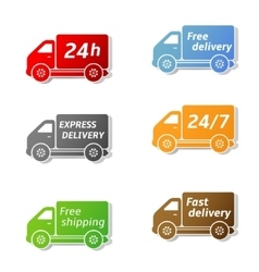 Fast food delivery car icons vector