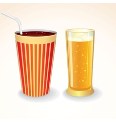 Fast Food Drinks Icon Cola Cup and Glass of Beer vector image
