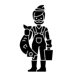 fisherman with fish icon vector image
