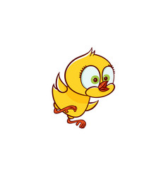 Flat cute chicken chick trying to fly vector