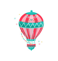 flying hot air balloon decorated with colorful vector image