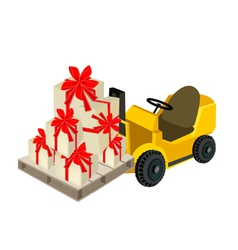 Forklift Truck Loading A Stack of Gift Boxes vector