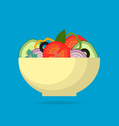 fresh vegetable salad in the bowl vector image