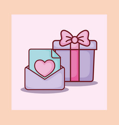gift box email message letter love online dating vector image