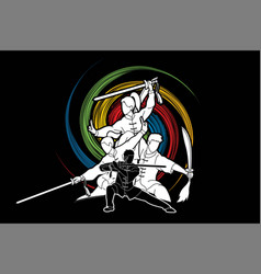 Group of people pose kung fu wushu with swords vector