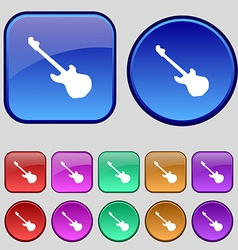 Guitar icon sign A set of twelve vintage buttons vector image