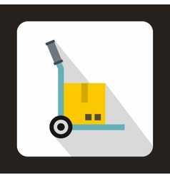 Hand cart with cardboard icon flat style vector