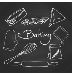 Hand drawn baking equipment Kitchen tools design vector