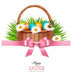 Happy Easter background Basket with eggs daisies vector image vector image