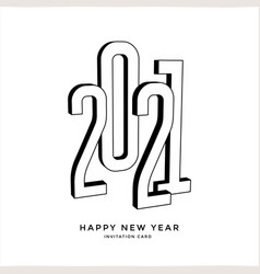 happy new year 2021 silhouette numbers typography vector image