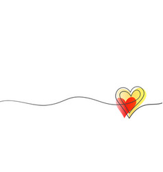 heart continuous one line drawing double heart vector image