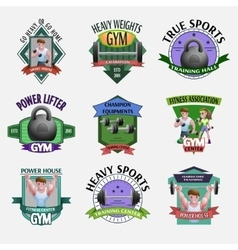 Heavy Weights Fitness Emblems Set vector image