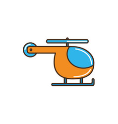 Helicopter vehicle flight transport line and fill vector