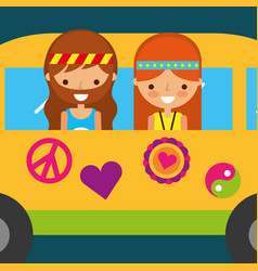 Hippie woman and man in van vintage free spirit vector