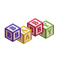 Isometric kids blocks with letters and a word baby vector