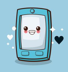 Kawaii cellphone emoticon image vector