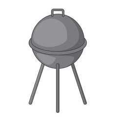Kettle barbecue grill icon cartoon style vector